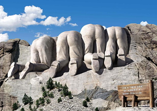The backside of Mount Rushmore