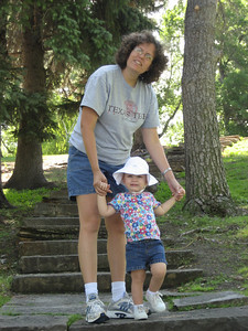 Mommy and Ellen practicing stairs at Giant Springs.