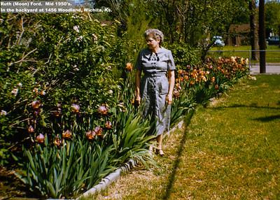 Ruth (Moon) Ford.  Mid 1950's.   In the backyard at 1456 Woodland, Wichita, Ks.