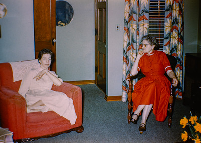 L-R, Viginia (Ford) Collom, and her mother Ruth A. Ford.  Mid 1950's.