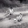 1957 - Lynda and Doug after head-on collision, Lometa