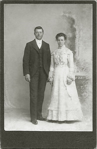 WEDDING PHOTO (FULL-LENGTH) Alfred Marion and Cora Louise (Barron) Smith - 1900  I know we have their wedding photo at the beginning of this gallery, but it turns out it was a crop of this one.