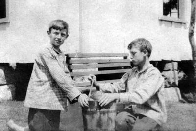 SUMMERTIME FUN Rupert and Tillman Reid making ice cream - 1908