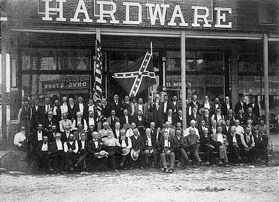 OLD SOLDIERS REUNION (CIVIL WAR VETERANS)  Hico, Texas - 1905  2nd row from the bottom, 6th from the right is Louis Samuel Columbus. Bottom row, 8th from the left is Robert Erwin Gordon, Sr. Both men are Ric's great-grandfathers, and both fought for the Confederacy.
