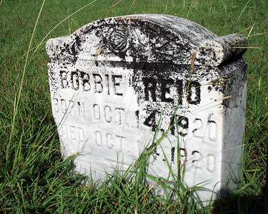 REID, BOBBIE Oct 14, 1920 - Oct 14, 1920 Lometa Cemetery, Section B, Lometa, Texas  It's not known if this little guy (or girl) is one of our family's Reids or not, but his grave is right in front of Burgess Moore's.