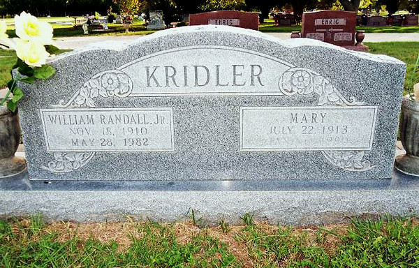 KRIDLER, WILLIAM RANDALL Jr and MARY (PETRAS)<br /> Hermann Sons Cemetery, Gonzales, Texas
