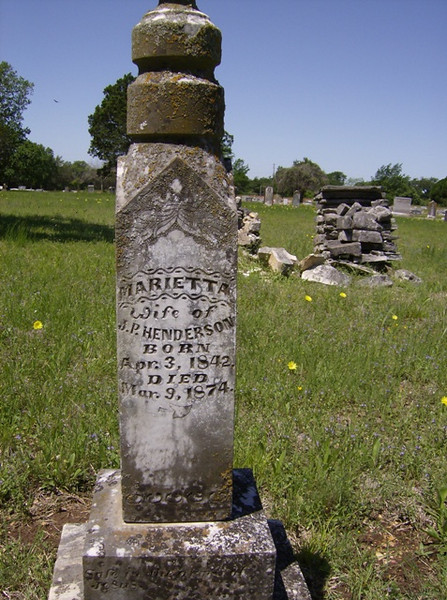 HENDERSON, MARIETTA<br /> Moffat Cemetery, Moffat, Texas<br /> <br /> [the younger sister of J S B Smith]