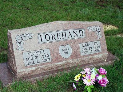 FOREHAND, FLOYD L and MARY LOU (WHITEHEAD) Senterfitt Cemetery, Lometa, Texas