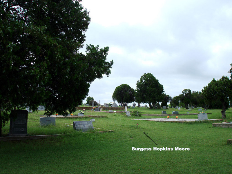 """MOORE, BURGESS HOPKINS <br /> Dec 19, 1903 – Apr 5, 1921<br /> Lometa Cemetery, Section B, Lometa, Texas<br /> <br /> Sadly, even after all these years, Burgess Moore's grave is still unmarked, but I thought I ought to include her gravesite, since its location has been a family mystery for a very long time. We now know where it is. She was William Dee Moore's younger sister, and the youngest of Frank Morgan and Ellender """"Dolly"""" Moore's children."""
