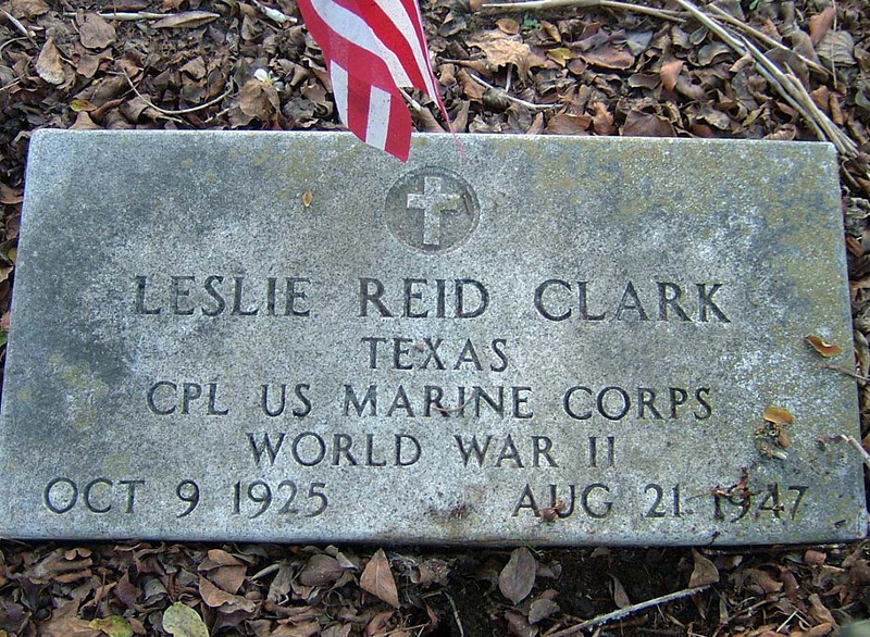 CLARK, LESLIE REID - SERVICE STONE<br /> Gonzales City Cemetery, Gonzales, Texas <br /> <br /> [son of Grace Ruth (Reid) and William Leslie Clark]