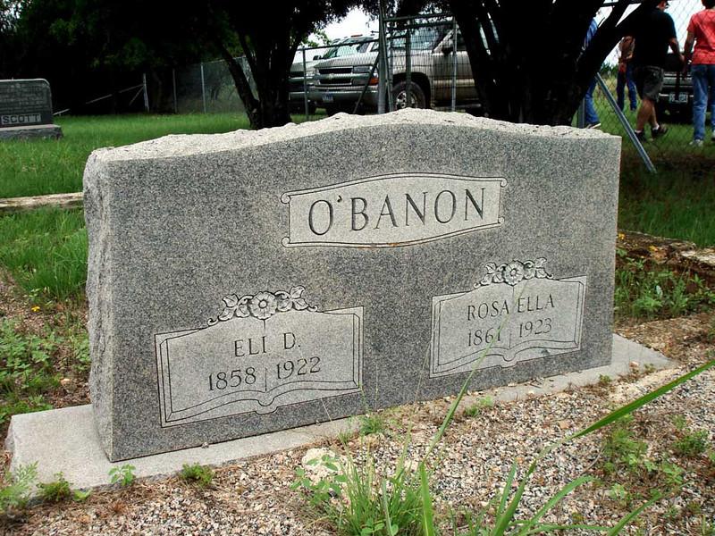 O'BANON, ELI D and ROSA ELLA<br /> Chadwick Cemetery, Lometa, Texas