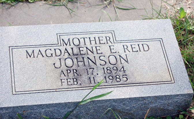 JOHNSON, MAGDALENE ELIZABETH (REID)<br /> Denton Creek Cemetery, Gonzales, Texas