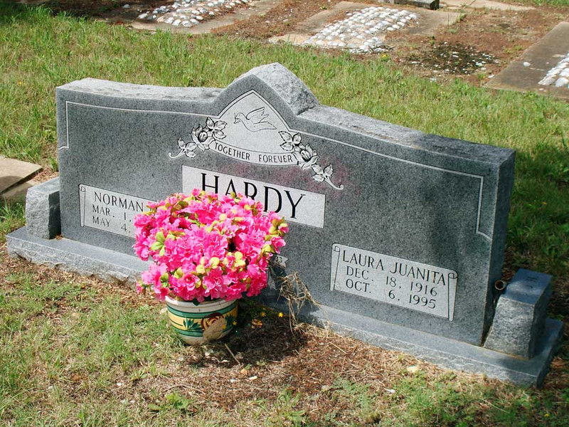 HARDY, NORMAN M and LAURA JUANITA (SMITH)<br /> Harris Cemetery, San Saba, Texas<br /> <br /> Norman M Hardy: Mar 1, 1912 - May 4, 1987<br /> Laura Juanita (Smith) Hardy: Dec 18, 1916 - Oct 6, 1995