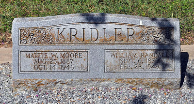 KRIDLER, WILLIAM RANDALL Sr and MATTIE WILLIS (MOORE) Denton Creek Cemetery, Gonzales, Texas