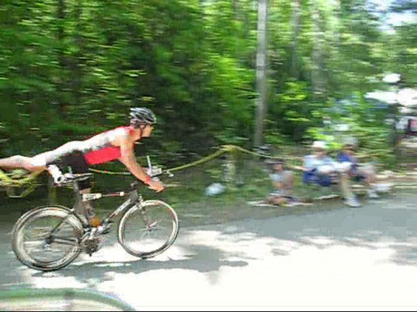 Finishing the bike race. On to the running