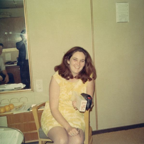 Eileen Moran Bradley aboard the ms Rotterdam on her way to Ireland in 1969