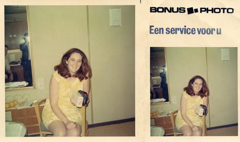 Eileen Moran Bradley aboard the ms Rotterdam on her way to Ireland in 1969