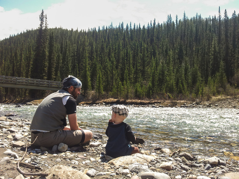 <b>27 May 2012</b> Hanging out by the Cascade River, pre-hat-being-thrown-in-the-river