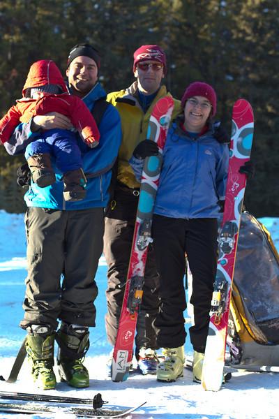 <b>4 Feb 2012</b> Group shot! Steve holding Finn, Joel, Kristy's ski, Kristy, Kristy's other ski