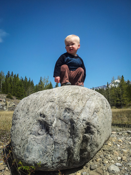 <b>27 May 2012</b> Biking the Cascade Fire Trail - the early portion of the trip, where Finn climbs on rocks