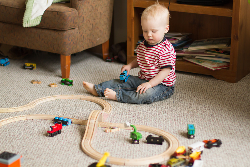 <b>May 2012</b> Playing with the new Thomas the Tank Engine train set