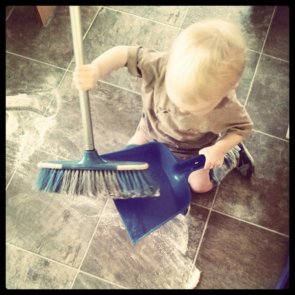 <b>April 2012</b> Sweeping the flour