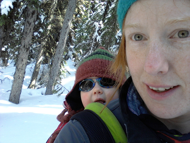 <b>8 April 2012</b> Skiing out through the trees with Finn in the Ergo