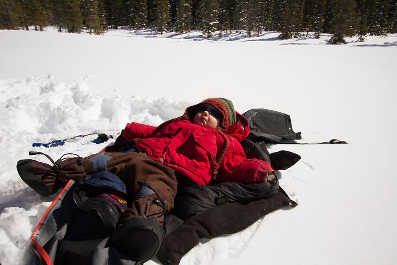 <b>8 April 2012</b> Finn, waking up at Ross Lake
