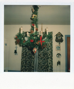 Dining room chandelier that Janet decorated
