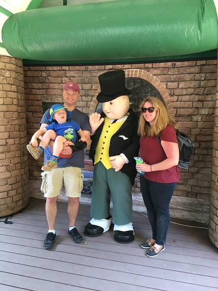 Peter was soo excited to go find Sir Topham Hatt, to the point I had to hold him back until it was our turn. And then after we waited in line? He closed his eyes the whole time they were taking pictures. :)