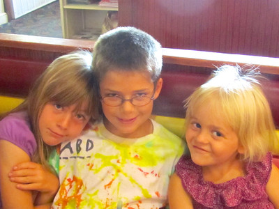 Sofia, Austin and Allegra out for breakfast