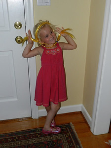 Allegra posing with her long hair