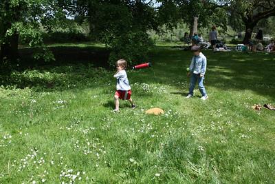 Lucas and Konrad playing baseball game.