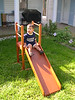 Jonathan gets ready to go down the slide that his grandfather built for Katie and Liz 25 years ago when we lived in Toronto.