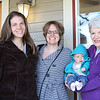 Three generations of Sweitzer women pose on the front porch of The Sow's Ear.  (L-R) Laura Ann Sweitzer, Erica Lynn Sweitzer-Beckman, Ruth Grace Sweitzer-Beckman held by her Grandma Sarah Kathleen Haynes Sweitzer.