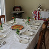The table was set at Mike & Erica's new home on Amherst with tea service on the table behind.  The drop leaf table was one formerly used by Anna Ruth Neff Haynes, Sarah's mother.