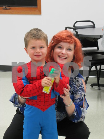 Drew Essman 'Spiderman' with mom, Leanne Essman at the 'Night with My Hero' held at the Citizens Central.
