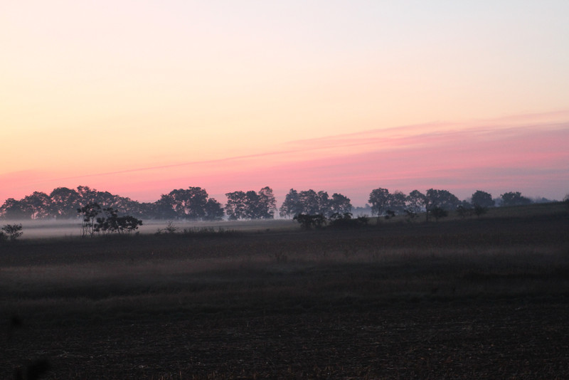 "Our last ""official"" early fall morning sunrise on the farm - have always loved the misty creek fog and the shades of pink, purple and orange in the morning."