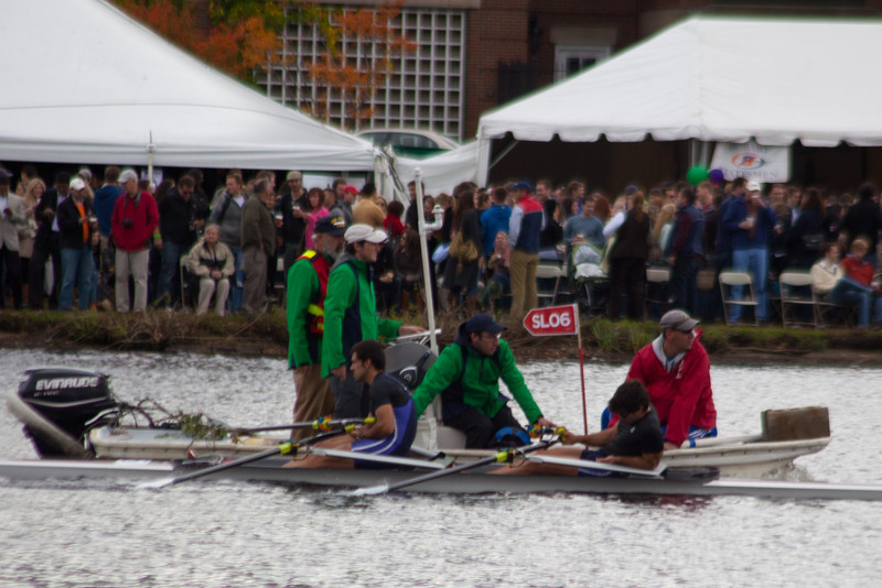 This was the third boat we saw coming in with a rower with an injured back.  More than in all my previous head races combined.  Must be the big oars!