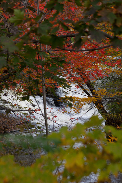 Waterfalls and rapids with fall colors.