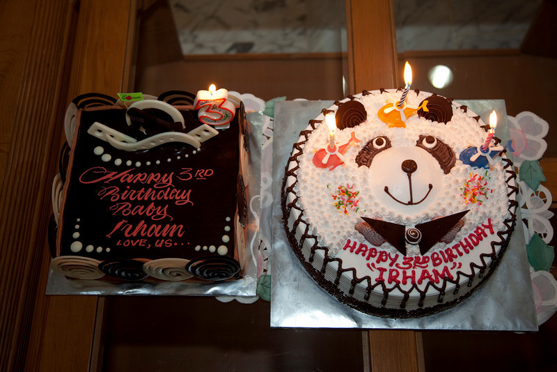 Irham's 2 Birthday cakes, 2 out of 3 cakes. One for each year!