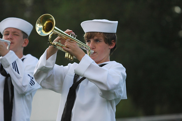 Andrew playing his trumpet at a Marching Band Competition.
