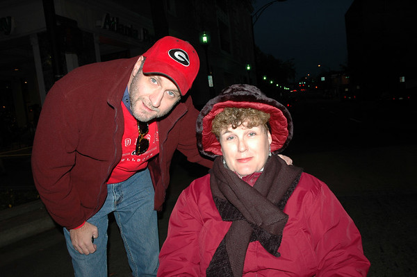 Ben and Jane freezing their butts off in downtown Greenville.