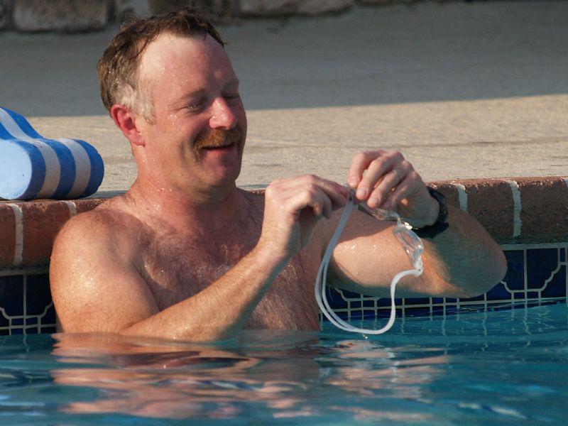 Sean getting ready for lap swim (Summer 2004).