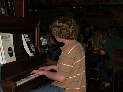 Seth playing piano for tips at McCoole's restaurant in Quakertown '08