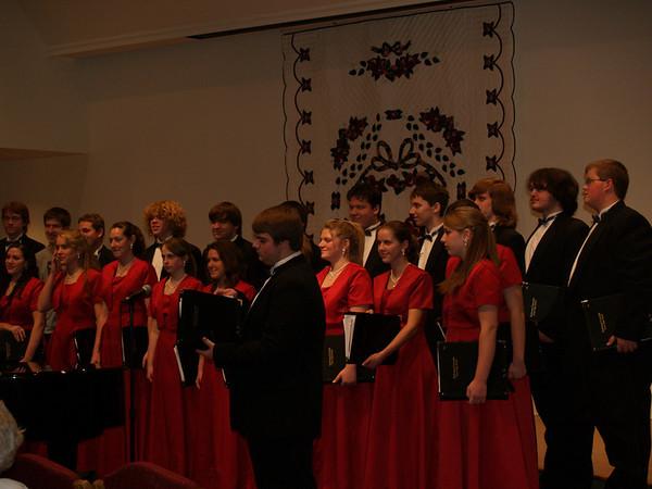 Varsity Singers (Lydia & Seth) at Souderton Mennonite Homes, Christmas Season '08 (Lydia on right., Seth towards left)