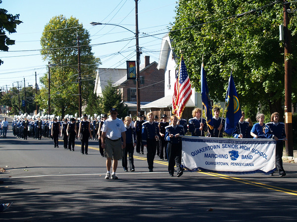 Band marching in Halloween Parade, '07 (Seth carrying flag)