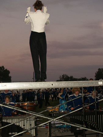 Lisa W., Drum Major, leading QCSHS Band