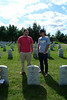 Matt Wing (left) and Ethan Wing (right) - cousins in front of their grandfather's grave in Saratoga, New York on 9/14/09