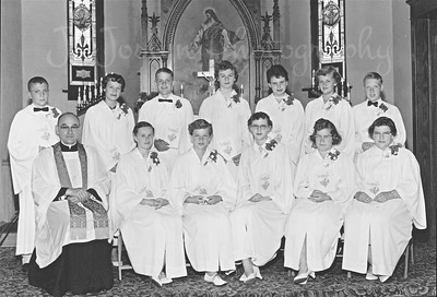 8th, grade, confirmation-St. Pauls Lutheran Church, Osseo, Minnesota, probably 1957.